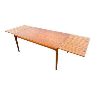 1960s Danish Draw Leaf Expanding Vejle Stole Teak Dining Table For Sale