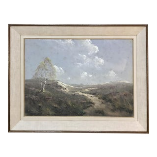 Mid 20th Century Mid-Century Framed Gouache Painting on Board by G. Cox For Sale