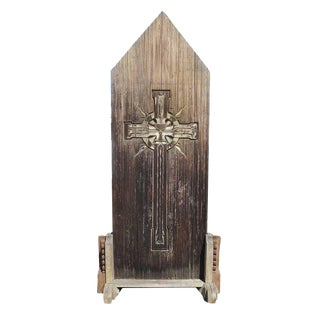 Large Rustic Carved Wooden Church Panel of Crucifix For Sale