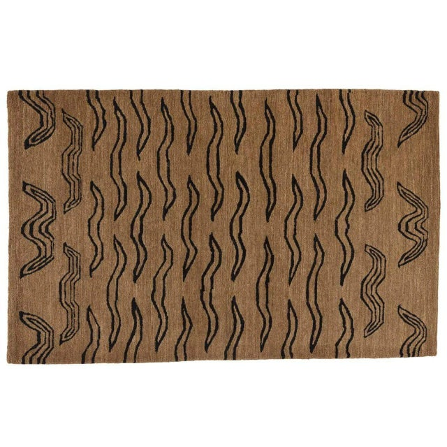 Contemporary Tiger Tan Black, 3 x 5 Rug For Sale - Image 3 of 3