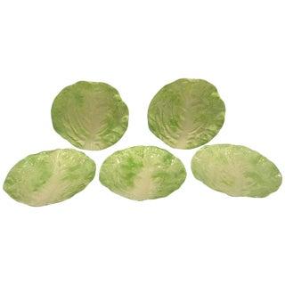 Five 19th Century Continental Majolica Lettuce Ware Plates For Sale