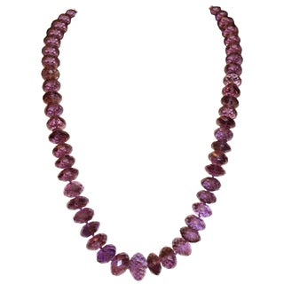 1970s Natural Faceted Amethyst Bead Necklace For Sale