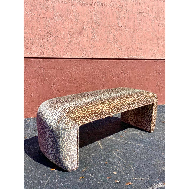 Fabulous vintage leopard velvet waterfall bench. The velvet has an iridescent sheen to it that catches the light. Acquired...