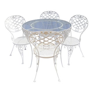 Iron & Glass Cafe Dining Set For Sale