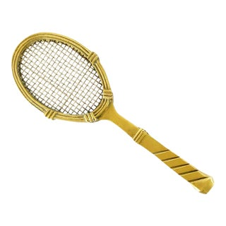 Vintage Solid Brass Tennis Racquet Desk Paper Weight For Sale