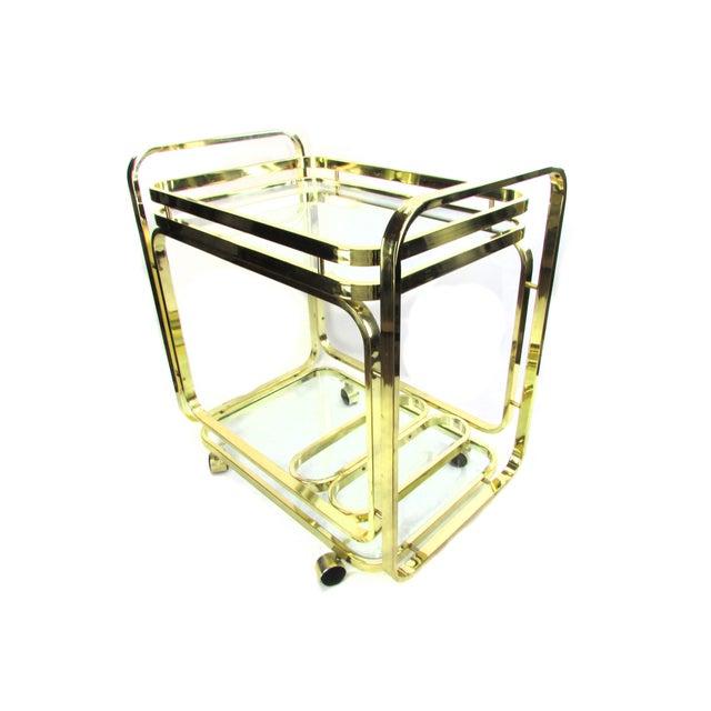 Milo Baughman Brass Bar Cart - Image 4 of 7