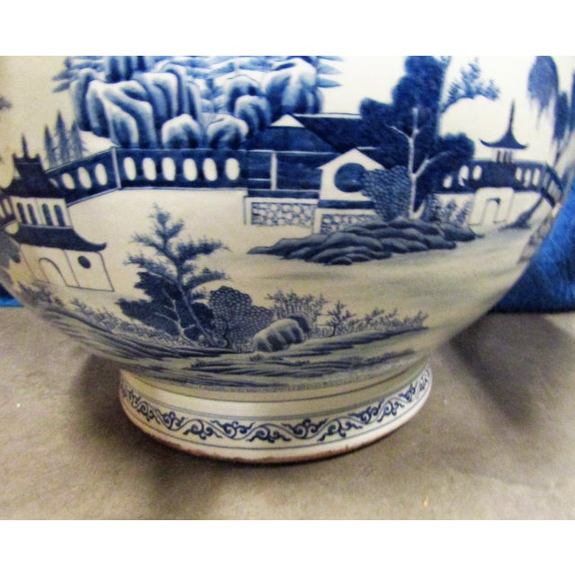 Vintage Asian Blue and White Urn Pot With Applied Face Handles For Sale In West Palm - Image 6 of 9