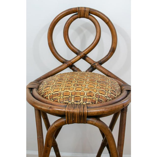 Vintage Mid-Century Twisted Wood Rattan Stools - A Pair For Sale In Washington DC - Image 6 of 10