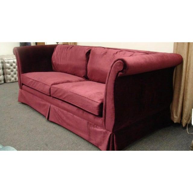 Art Deco 1940s Art Deco Burgundy Velvet Sofa For Sale - Image 3 of 4