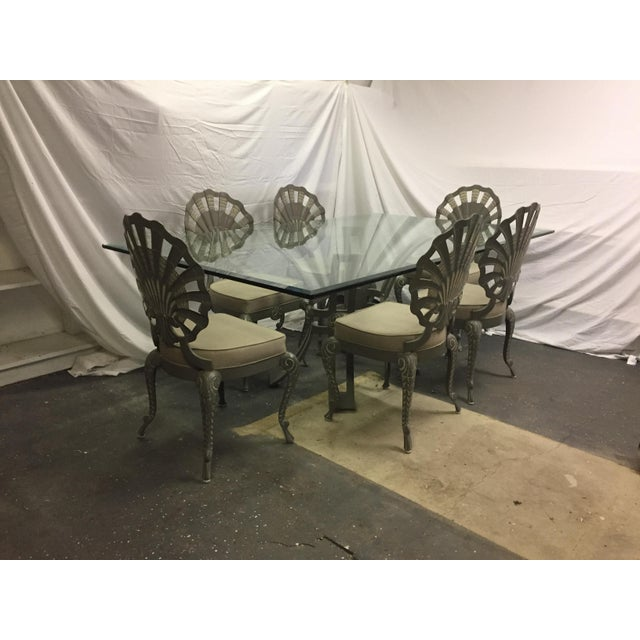 Shell Back Grotto Cast Aluminum Chairs & Glass Top Table - Image 8 of 8