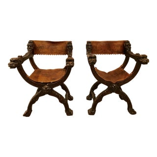 Antique Carved Asian Chairs - A Pair