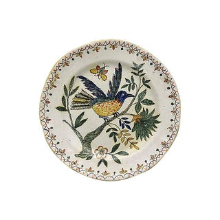 Antique 18th-C French Faience Plate For Sale