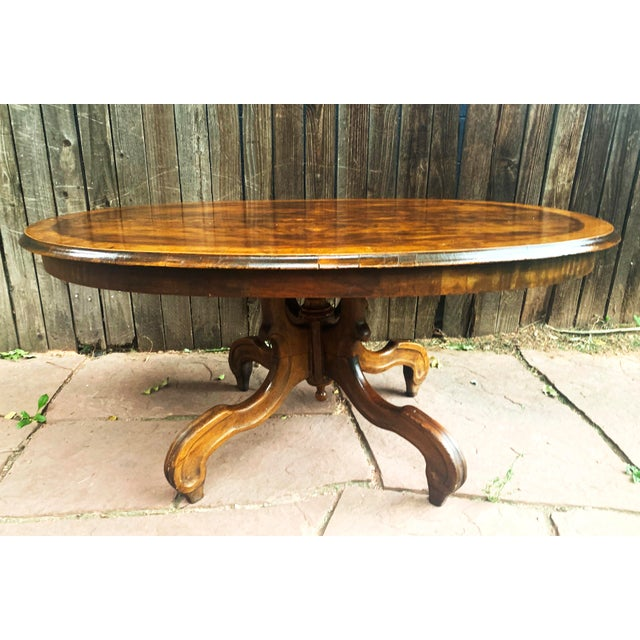 Traditional Oval Burled Walnut Veneer Coffee Table on Pedestal Base For Sale - Image 13 of 13