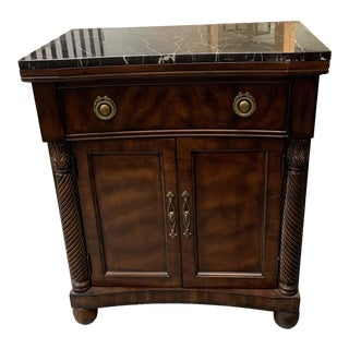 Drexel Heritage Portraits Marble Top Nightstand For Sale