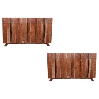 Contemporary Baxter 3 Drawer Acacia Wood Sideboards - a Pair