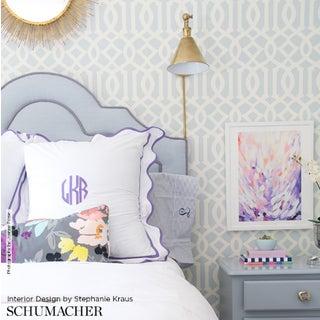 Sample - Schumacher Imperial Trellis Wallpaper in Soft Aqua Blue Preview