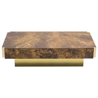 Golden Lacquer and Brass Coffee Table, 1970s For Sale
