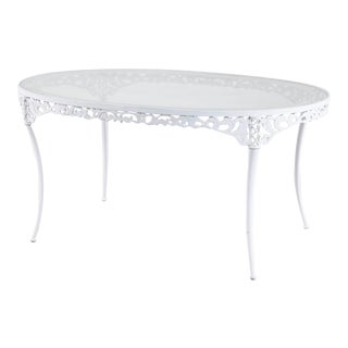 Brown Jordan Aluminum Neoclassical Oval Garden Dining Table For Sale