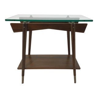 Caracole Danish Modern Style Bungalow Wood and Glass End Table For Sale