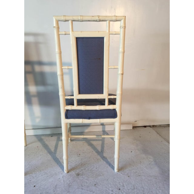 Wood Vintage Cottage Faux-Bamboo High-Back Side Chairs - A Pair For Sale - Image 7 of 8
