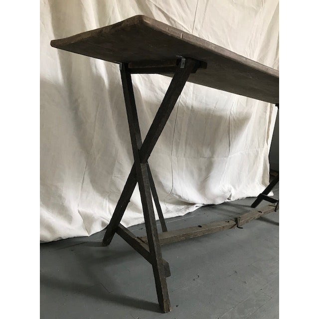 French 20th Century French Foldable Wood Console Table For Sale - Image 3 of 5
