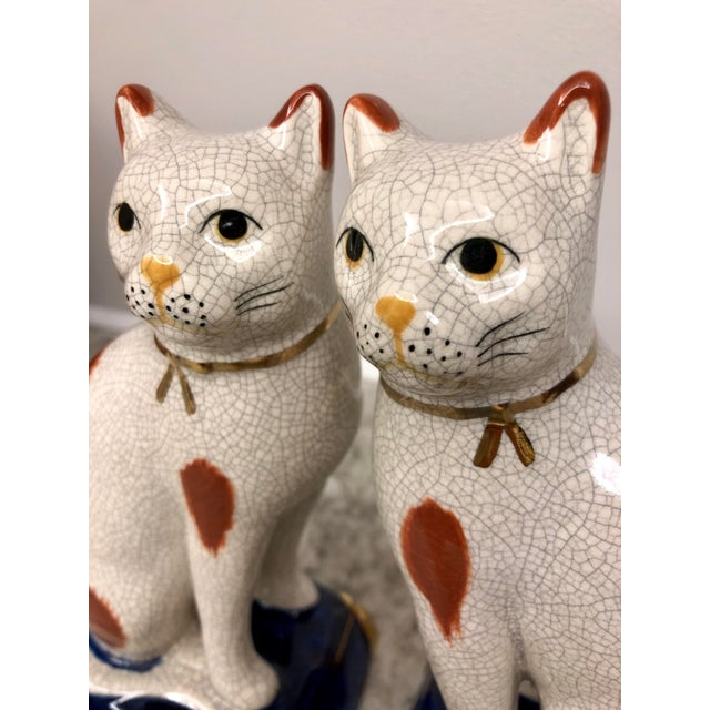 Ceramic Vintage Fitz and Floyd Calico Cat Bookend Statues - a Pair For Sale - Image 7 of 9
