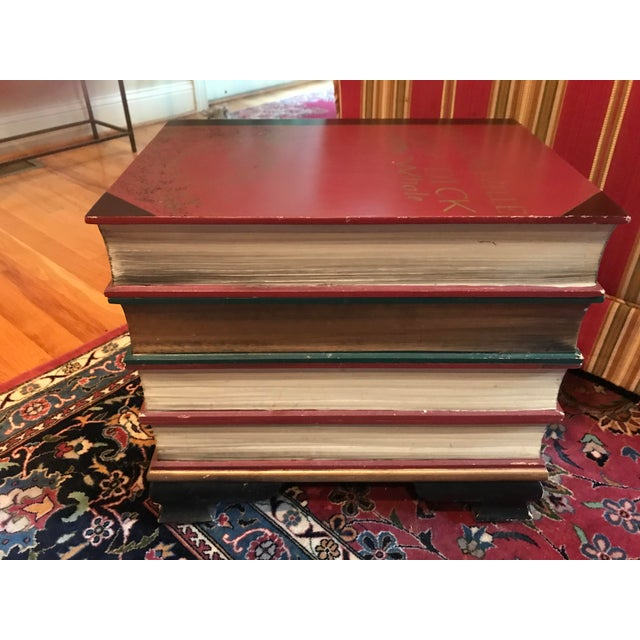 1980s Stacked Classic Books Hand Painted Side Table/Chest For Sale - Image 5 of 10