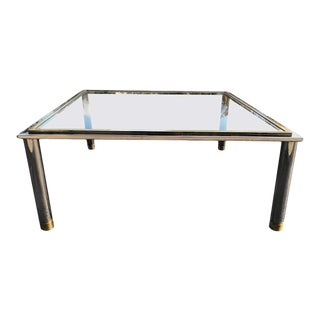 Milo Baughman Style Square Brass and Chrome Coffee Table For Sale