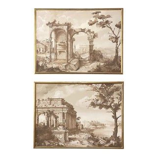 Pair Antique Grand Framed Gouache Paintings of Roman Ruins For Sale