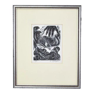 """1946 Woodcut Engraving """"The Separation of the Waters"""" sgnd Letterio Calapai For Sale"""