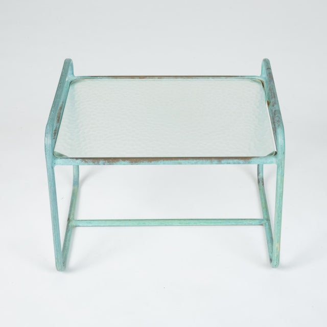 Bronze End Table With Hammered Glass Top by Walter Lamb for Brown Jordan For Sale - Image 10 of 13