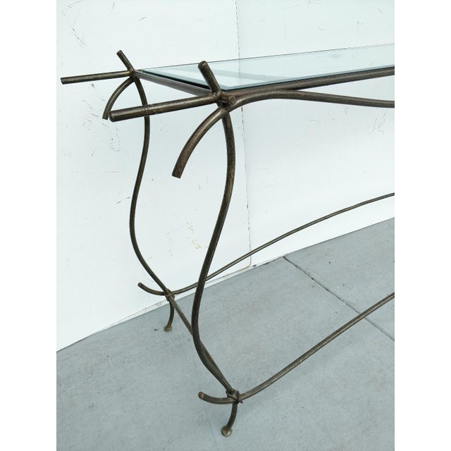 Glass Wrought Iron and Glass Console Table, Vintage For Sale - Image 7 of 13