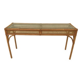 Vintage Rattan and Bent Bamboo Console Entryway Table For Sale
