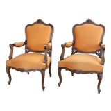 Image of Antique Louis XV Style Armchair - a Pair For Sale
