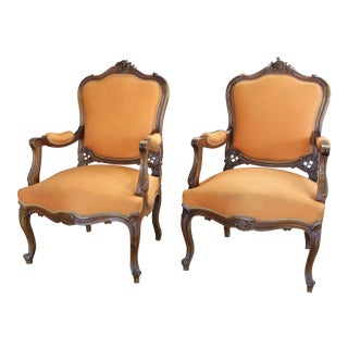 Antique Louis XV Style Armchair - a Pair For Sale