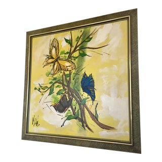 Mid-Century Yellow Butterfly Painting For Sale