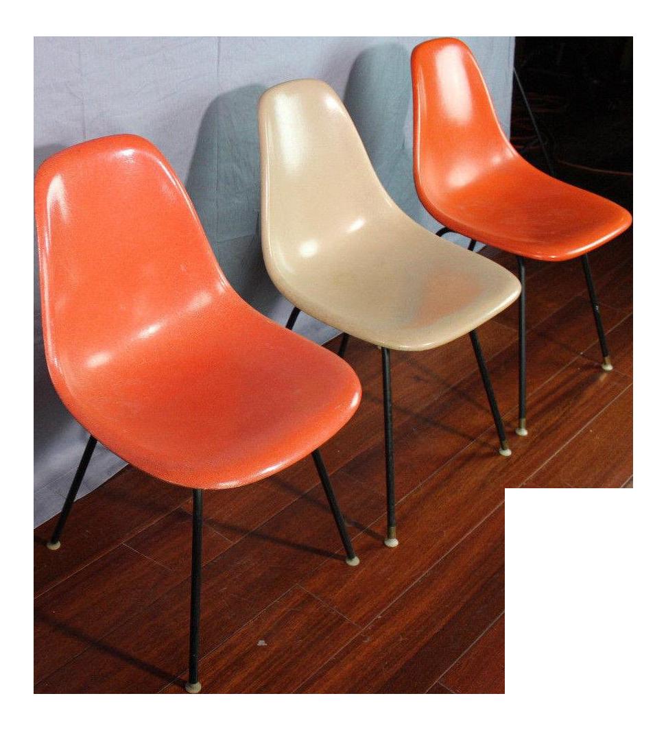 1958 Vintage Herman Miller Fiberglass Bucket Chairs   Set Of 3