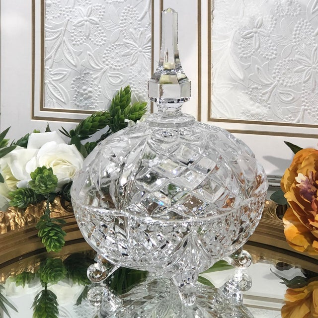 Late 20th Century Vintage Crystal Footed Candy Dish For Sale - Image 9 of 10