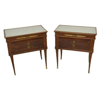 1950's Italian Mid-Century Modern Burled & Matched Nightstands or End Tables - a Pair For Sale