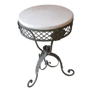 Wrought Iron Table With Marble Top