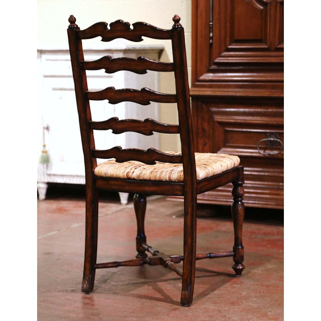 Country French Carved Walnut Ladder Back Chairs With Rush Seat, Set of Six For Sale - Image 9 of 11