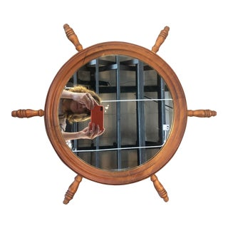 1940s Antique French Nautical Wooden Wall Mirror For Sale