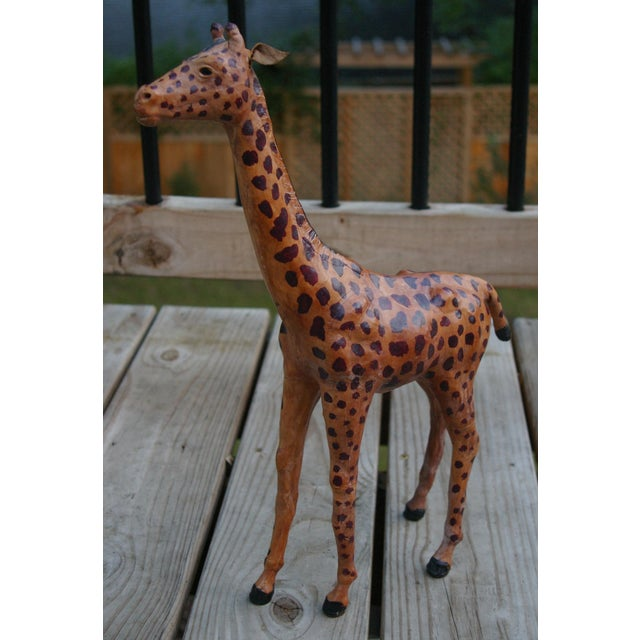Vintage Leather Giraffe - Image 4 of 4