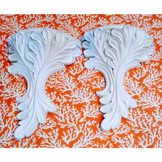 Resin Massive White Gloss Palm Beach Regency Serge Roche Style Fig Leaf Wall Sconce Shelves - a Pair For Sale - Image 7 of 7