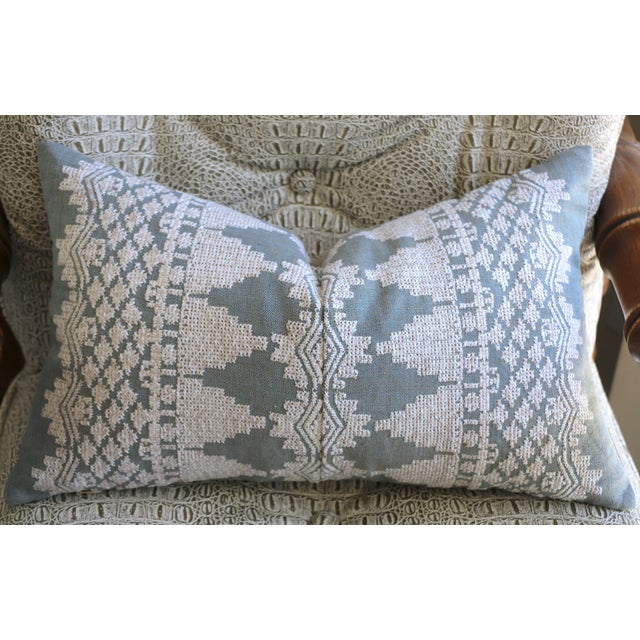 Schumacher Dusty Blue Schumacher Embroidered Pillow Cover For Sale - Image 4 of 4