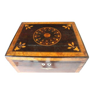 Antique American Inlaid Rosewood Jewel Sewing Box