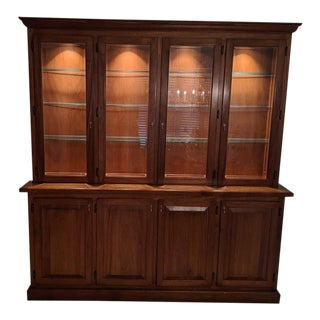 Vintage Walnut Breakfront Display Cabinet For Sale