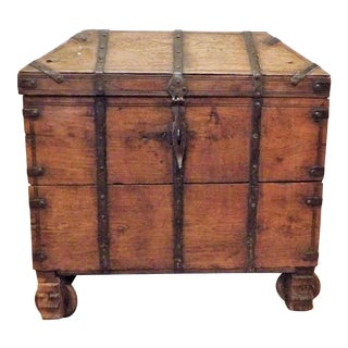Antique Wood Dome Trunk With Metal Straps & Carved Wood Wheels For Sale