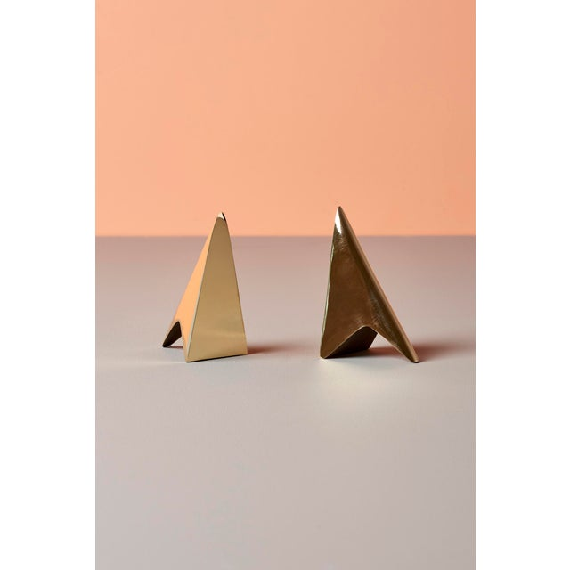 2010s Pair of Carl Auböck Bookends in a Patina and Polish Brass Mix For Sale - Image 5 of 8