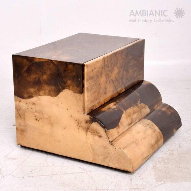 Animal Skin Goatskin Bed Side Table For Sale - Image 7 of 8